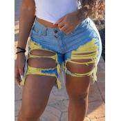 Lovely Mid Waist Ripped Denim Shorts