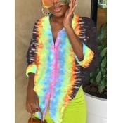 Lovely Street Tie-dye Asymmetrical Multicolor Blouse