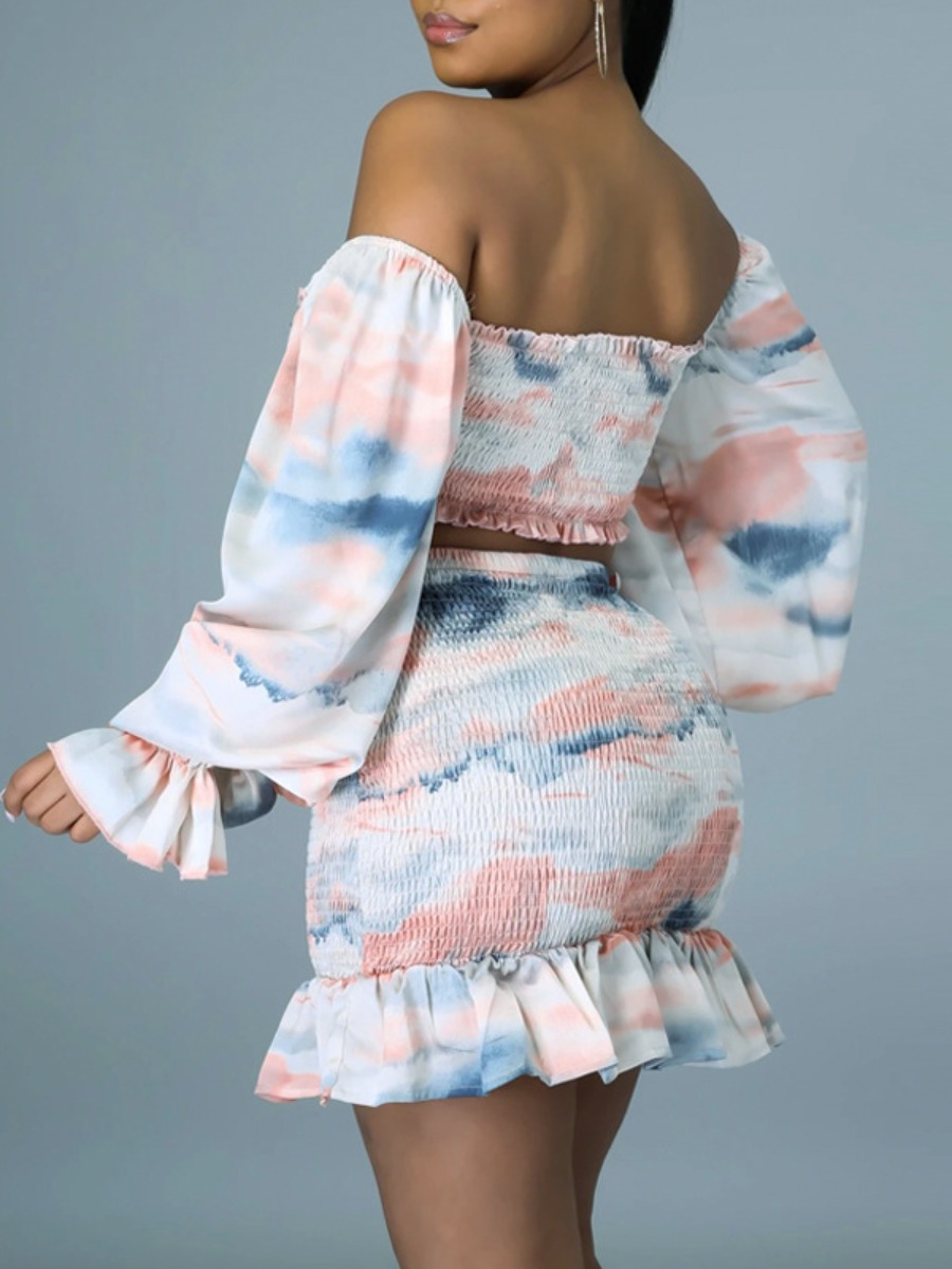Lovely Sweet Tie Dye Flounce Design Pink Two Piece