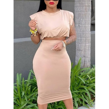 Lovely Casual O Neck Cap Sleeve Apricot Two Piece