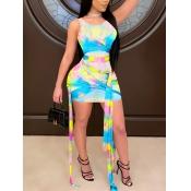 Lovely Sexy Tie-dye Bandage Design Multicolor Mini Dress