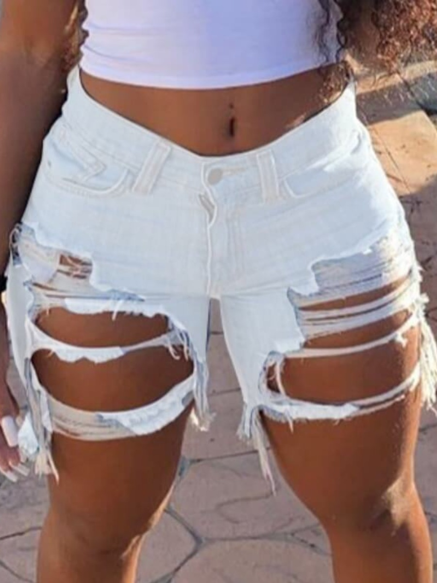 Lovely Sexy Hollow-out Creamy White Denim Shorts